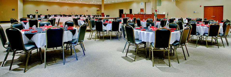 This is our Platinum Room.  This banquet hall can accommodate up to 500 guests.